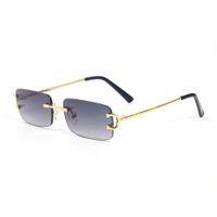 EyeGlasses Gafas de metal Marco sin montura para hombres Mujeres Lectura de oro Gafas de prescripción Gafas de sol de diseñador de lentes con caja