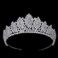 Hadiyana AAA Crowns Style Vintage Style Big Eye Shape Accessoires de mariage Bridal Hair Tiaras Jaune Gold Party BC3707 210616