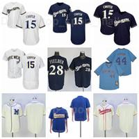 Retror 1913 1948 Vintage Baseball 14 Kent Hrbek Jersey 44 Hank Aaron 15 Cecil Cooper 28 Prince Fielder Team Pullover Pinstreifen Rentieren Sie Männer