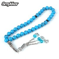 Hot Mohammed Rosary Antique Silver Rosary Turquoise Stone 33pcs Tesbih 10mm Bead for Muslim Prayer Jewelry Tassel Party Bracelet 210315