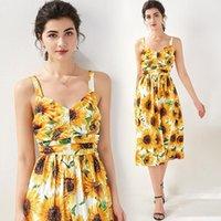 Günlük Elbiseler Merchall Moda Tasarımcısı Pist Elbise Yaz Kadın Spagetti Kayışı Backless Ayçiçeği Çiçek Baskı Beach Tatil