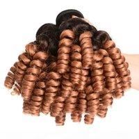 Moyen Auburn Ombre Romance Péruvien Curls Bonds Humains Bundles Aunty Funmi # 1B 30 Brown rougeâtre Ombre Cheveux humains Teins 3PCS Bundle Offres