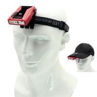 HOOFDLAMPS 300LM T6 LED-visserij Inductiekoplamp Type-C USB CAP Clip Head Torch Light Motion Sensor Camping Lantaarn Rode Waarschuwing Strobe
