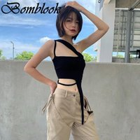Women's Tanks & Camis Bomblook Sexy Party Club Womens Solid Y2K Camisole Summer 2021 Irregularity Backless Zipper Female All-match Crop Top