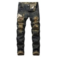 Men's Jeans The European And American High Street Ripped Mens Slim Feet Men Leather Folds Locomotive Stretch Trousers