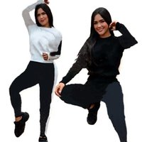 Fall winter clothes Jogger suits Women tracksuits long sleeve outfits letters hoodie+sweat pants two Piece Set Plus size 2XL Casual print sweatsuits 5868