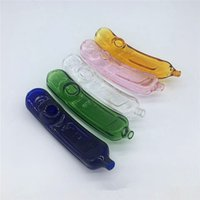 DHL Lindo Pickle Pickle Fumar Tubería de vidrio Doblado Pepino Dobley Tabaco Tubos de mano 5 Color Pyrex Cuchara colorida Fumar Accesorios