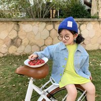 Shirts Spring Arrival Korean Style Cotton For Fashion Cool Cute Baby Girls Pure Color Casual Loose All-match Denim Shirt Coat