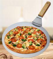 Кухонные ножи пицца кожура 10 дюймов, подтяжка торта, шпатель из нержавеющей стали с резиновой деревянной ручкой, лоток для выпечки домодельный HWA5901
