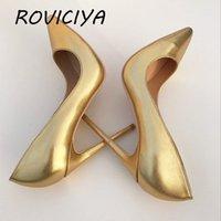 Altın kadının ayakkabı kadın pompaları sivri burun 12 cm yüksek topuk stiletto klasik pompalar balo ayakkabı YG018 roviciya 210225