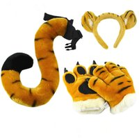 New Tiger Tail Long, the Same Plush Toy Zoo Children Props Claw Gloves Warm Pillow