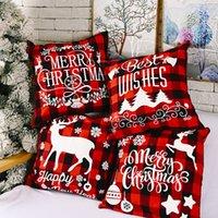وسادة عيد القضية الأسود والأحمر الجاموس منقوشة الكتان غطاء وسادة ل أريكة الأريكة عيد الميلاد ديكور 18 بوصة KDJK2108