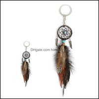 Arts And Arts, Crafts Gifts Home & Gardenmini Dream Catcher Keychain Creative Car Aessories Hanging Handmade Vintage Feather Decoration Orna