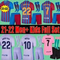 Uomini Adulto Bambini FC Barcellona 21 22 Soccer Jerseys Calzini brevi set completo Kit Kun Aguero Braithwaite Ansu Fati Dest 2021 2022 Griezmann Messi Camicie da calcio