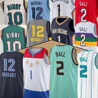 New Lamelo 2 Ball Zion 1 Williamson Баскетбол Джерси JA 12 Morant Mike 10 Bibby Men Green Blue Basketball Майки Топ