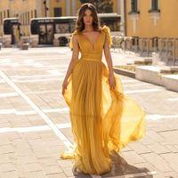 A Line Women Floor Length Sexy Chiffon Prom Dress for Female Evening Wear Deep V Neck Knot Fashion New
