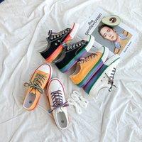 Gökkuşağı Ayakkabı Yaz Nefes Trend Öğrenci Kore Versiyonu HYUNA Stil Tuval Ayakkabıları Kadın Düz Tek