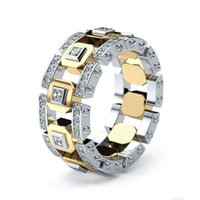 Cluster Rings Modern Gold And Silver Mix Color Two Tone For Women Fashion Design Jewelry Lady Accessory Ring Gifts