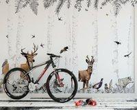 Wallpapers AINYOOUSEM Modern Elk Deep Forest Background Wall Papier Peint Papel Wallpaper 3d Stickers