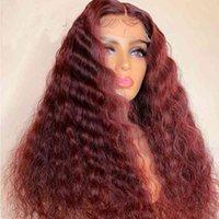 99j أحمر اللون غريب مجعد الدانتيل الجبهة للنساء مع شعر الطفل مقاومة للحرارة الاصطناعية الباروكات اليومية الباروكة تأثيري الباروكات