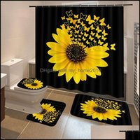 Curtains Aessories Bath Home & Gardensunflower Butterfly Print Shower Waterproof Bathroom Curtain Toilet Er Mat Non-Slip Rug Set Bathtub Dec