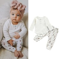 Clothing Sets 2Pcs Baby Clothes Fall Outfits Long Sleeve Girl Button Front Rib Knit Romper + Floral Pants Set 0-24Months