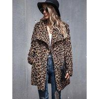 Kadın Yün Karışımları Avrupa Amerikan-Düz Sonbahar Kış Moda Leopar-Baskı Faux Kürk Yün Ceket