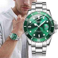 Designer luxury brand watches OLEVS Mens es Top Fashion Waterproof Luminous Hand Green Dial Quartz Sports Wrist Gifts for Men