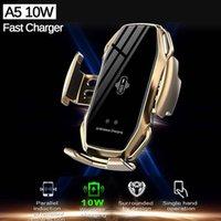 A5 10W 무선 자동차 충전기 자동 클램핑 아이폰 11 화웨이 삼성 스마트 폰용 패스트 충전 전화 홀더 마운트