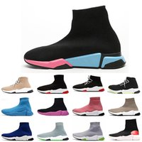 Lace Up Navy Blue Meias Botas Off Treinadores Designer de Luxo Sock Sapatos Graffiti Sola Mulheres Homens Balen Sapato Casual Triplo Branco Preto Pink Sports Sneakers Tamanho 36-45
