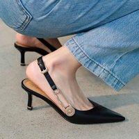 Elbise Ayakkabıları 2021 Sivri Burun Kadınlar Siyah Deri Slingback Kayısı Metal Zincirleri Balo Sandalias Chic Yüksek Topuklu Bayan İş Stilettos