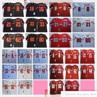 NCAA 빈티지 75th 레트로 대학 축구 80 Jerry Rice Jersey Stitched 33 Roger Craig 42 Ronnie Lott Dwight Clark Jerseys Red Black White