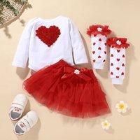 Baby 3D Blume Herz + Tutu Rock + Long Socke Set Kinder Boutique Kleidung 0-2t Kinder Kleinkind Mädchen Party Festival Outfits 209 Y2