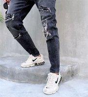 Autumn Men's Hearts chrome Designer Brand Crosin Sanskrit Alphabet Printing Fashion Personality Hole Liuding Casual Jeans N06G