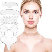 11 unids reutilizable silicona anti arruga parches fijados cuello en la frente escisión de la frente máscara de ojo mejilla de mejilla batidos faciales Smoothies de arrugas tiras de eliminación