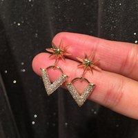 Zircon diamond letter V pendant earrings new fashion luxury designer lovely star stud earrings for woman girls s925 silver post