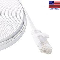 LANネットワークケーブルインターネットRJ45 CAT6イーサネットケーブルCAT 6モデムフラットUTPパッチルーターホワイトコードロットC0007 US在庫高速配達