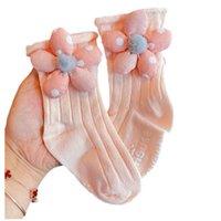 Kids Socks Girls Accessories Spring Autumn Cotton Flower Cute Bow Children Ankle Sock Crown Dress Princess Dance 1-4Y B8843