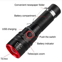 Flashlights Torches 3 Modes LED T6 COB Light Waterproof USB Portable Rechargeable Zoom Emergency Torch For Camping Hiking Outdoor