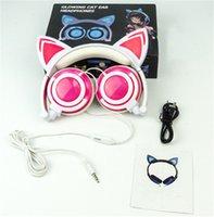 2021 Sevimli Katlanabilir Kedi Kulak Kulaklık LED Işıkları Parlayan Kulaklık Cep Telefonu Kulaklık Evrensel Kafa Monte Karikatür Müzik Kulaklık