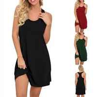 Casual Dresses Women Summer Dress Solid Color Nightwear Round Neck Nightdress Sleeveless Strap V-neck Loose A-line Pajamas Femme