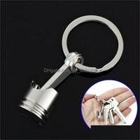 Fashion Aessories Car Part Sier Metal Piston Key Ring Chain Keyring Keychain Keyfob Pendant Keychains Drop Delivery 2021 H68F3