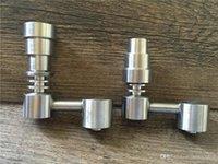 Evrensel Domeless Titanyum Tırnak 4 in 1 14.5mm 18.8mm Çift Fonksiyon GR2 Balmumu Yağı Nargile Su Boruları Bong Ash Dab Rigs