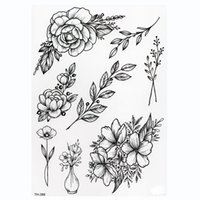 Autocollant à tatouage temporaire imperméable Lotus Rose Motif Transfert de l'eau sous l'épaule à l'épaule Fleur Corps Art faux Tatoo