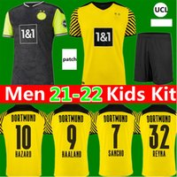 Dortmund Soccer Jersey Borussia 21 22 9 Haaland 7 Sancho BVB 2021 الرابع 4th Bellingham Reyna Guerreiro Reus Neongelb 2022 كرة القدم قميص الرجال الاطفال كيت مايوه دي القدم