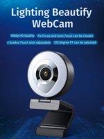 웹 카메라 자동 초점 반지 Fill-in 조명 비디오 웹캠 HD 1080P 라이브 방송 마이크 USB 3 학년 터치 밝기