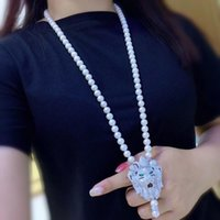 Newhot Продать Новый 8-9 мм Натуральный Белый Пресноводный Жемчужный Ожерелье Циркон Аксессуары Лев Голова Подвеска 75см Длинные Ювелирные Изделия