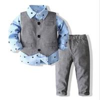 Baby Boy Clothing Shirt Bow Set Birthday Formal Suit Autumn Newborn Boys Clothes Set Blue Shirt Top+Vest + Pants Outfits