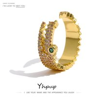 Cluster Rings Yhpup Fashion Crocodile Opening Women Delicate Cubic Zirconia Finger Ring Copper Gold Jewelry Bagues Pour Femme Gift