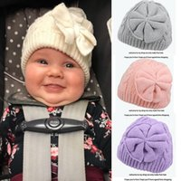 Caps & Hats Big Bow Knot Baby Girls Hat Born Pography Props Solid Color Turban Head Wraps Kids Bonnet Beanie